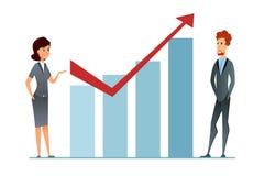 Αύξηση πωλήσεων Το εισόδημα αυξάνεται Η επιχειρησιακή γυναίκα και businceeman ενάντια στην οικονομική γραφική παράσταση παρουσιάζ διανυσματική απεικόνιση