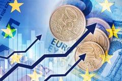 Αύξηση του ευρο- νομίσματος Στοκ Φωτογραφίες