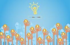 Αύξηση των χεριών για την έννοια Crowdfunding Στοκ Εικόνα
