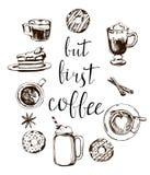 Αλλά πρώτη κάρτα καφέ Σύγχρονη καλλιγραφία με το σχέδιο καφέ doodle Συρμένη χέρι εγγραφή διάνυσμα απεικόνιση αποθεμάτων
