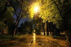 Αλέα στη βροχερή πόλη φθινοπώρου Στοκ εικόνα με δικαίωμα ελεύθερης χρήσης