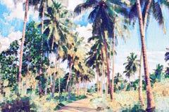 Αλέα φοινίκων κοκοφοινίκων με την πρασινάδα Τροπική ψηφιακή ζωγραφική φύσης ελεύθερη απεικόνιση δικαιώματος