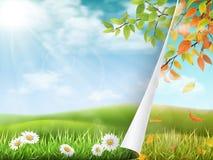 Αλλαγή των εποχών από το καλοκαίρι στο φθινόπωρο ελεύθερη απεικόνιση δικαιώματος