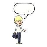 αλαζονικός επιχειρηματίας κινούμενων σχεδίων που δείχνει με τη λεκτική φυσαλίδα Στοκ φωτογραφία με δικαίωμα ελεύθερης χρήσης