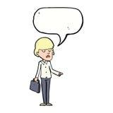 αλαζονικός επιχειρηματίας κινούμενων σχεδίων που δείχνει με τη λεκτική φυσαλίδα Στοκ εικόνα με δικαίωμα ελεύθερης χρήσης