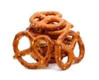 αλατισμένα pretzel πρόχειρα φαγ&et Στοκ Εικόνες