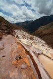 Αλατισμένες λίμνες εξάτμισης Maras ιερή κοιλάδα Περιοχή Cusco Περού στοκ εικόνες