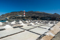 Αλατισμένες εγκαταστάσεις εξαγωγής με το φάρο στο Λα Palma αλυκών στοκ φωτογραφίες