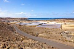 Αλατισμένες εργασίες Salinas de Janubio σε Lanzarote Στοκ εικόνες με δικαίωμα ελεύθερης χρήσης
