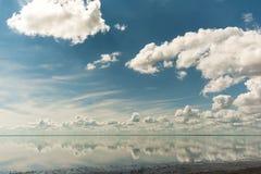 Αλατισμένη λίμνη Elton και αντανάκλαση Στοκ Εικόνες