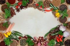 αλατισμένη βανίλια καρυκευμάτων δεντρολιβάνου πιπεριών φύλλων χορταριών σκόρδου κόλπων cardamon Στοκ Φωτογραφία