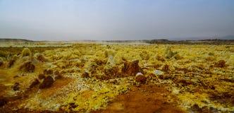 Αλατισμένη κινηματογράφηση σε πρώτο πλάνο δομών μέσα στον ηφαιστειακό κρατήρα Dallol στην κατάθλιψη Danakil, μακρυά, Αιθιοπία Στοκ Εικόνες