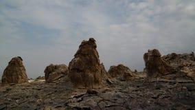 Αλατισμένη κινηματογράφηση σε πρώτο πλάνο δομών μέσα στον ηφαιστειακό κρατήρα Dallol στην κατάθλιψη Danakil, μακρυά, Αιθιοπία Στοκ Εικόνα