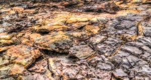Αλατισμένη σύσταση μέσα στην ηφαιστειακή κατάθλιψη Danakil κρατήρων Dallol, μακρυά Αιθιοπία Στοκ Εικόνες