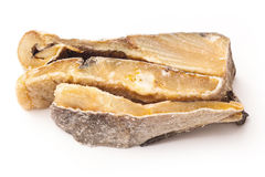 Αλατισμένοι μπακαλιάροι ή αλατισμένος βακαλάος που απομονώνονται σε ένα άσπρο υπόβαθρο Στοκ Εικόνες