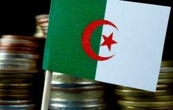 Αλγερινή σημαία που κυματίζει με το σωρό των νομισμάτων χρημάτων Στοκ Εικόνα
