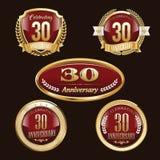 30α εμβλήματα επετείου καθορισμένα διανυσματική απεικόνιση