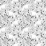 Αλεπούδες, πουλιά και λουλούδια κινούμενων σχεδίων άσπρες ζωηρόχρωμο πρότυπο άνευ ρα& Στοκ φωτογραφίες με δικαίωμα ελεύθερης χρήσης