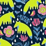 Αλεπούδες, πουλιά και λουλούδια κινούμενων σχεδίων ζωηρόχρωμο πρότυπο άνευ ρα& Στοκ εικόνες με δικαίωμα ελεύθερης χρήσης