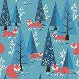Αλεπούδες στο δάσος διανυσματική απεικόνιση