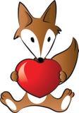 Αλεπού που κρατά μια μορφή καρδιών Στοκ εικόνες με δικαίωμα ελεύθερης χρήσης