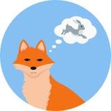 Αλεπού που σκέφτεται για τους λαγούς Διανυσματική απεικόνιση