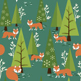 Αλεπού σε ένα δάσος διανυσματική απεικόνιση