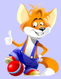 Αλεπού χαμόγελου χαρακτήρα κινουμένων σχεδίων με μια σφαίρα διανυσματική απεικόνιση