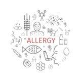 αλλεργιών Αιτίες, συμπτώματα Έμβλημα εικονιδίων γραμμών Στοκ εικόνα με δικαίωμα ελεύθερης χρήσης