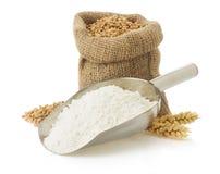 Αλεύρι και ψωμί σίτου στο λευκό στοκ εικόνες