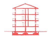 2$α ελεύθερη απεικόνιση σκίτσων της οικοδόμησης Στοκ Φωτογραφία