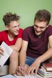Αδελφοί που έχουν τη διασκέδαση μελετώντας από κοινού Στοκ φωτογραφία με δικαίωμα ελεύθερης χρήσης