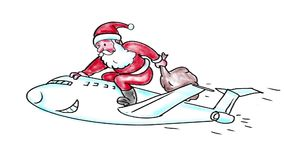 2$α ζωτικότητα watercolor αεροπλάνων αεριωθούμενων αεροπλάνων οδήγησης Άγιου Βασίλη ελεύθερη απεικόνιση δικαιώματος