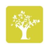 Αδιαφανές κίτρινο υπόβαθρο με το δέντρο ελεύθερη απεικόνιση δικαιώματος
