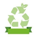 Αδιαφανές πράσινο υπόβαθρο με την ανακύκλωση του συμβόλου και της κορδέλλας απεικόνιση αποθεμάτων
