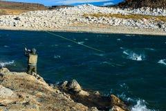 Αλιεία για την πέστροφα ουράνιων τόξων Στοκ εικόνα με δικαίωμα ελεύθερης χρήσης