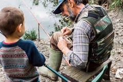 Αλιεία με τον παππού Στοκ Φωτογραφίες