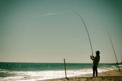 Αλιεία στην ακτή Στοκ Εικόνες
