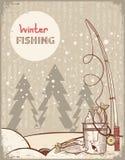 Αλιεία στη νύχτα Χριστουγέννων. Εκλεκτής ποιότητας WI χειμερινής εικόνας διανυσματική απεικόνιση