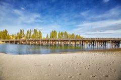 Αλιεία της γέφυρας στο εθνικό πάρκο Yellowstone, ΗΠΑ Στοκ Φωτογραφίες