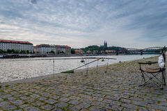 Αλιεία του ποταμού της Πράγας Στοκ Εικόνες