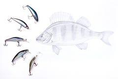 Αλιεία των πλαστικών δολωμάτων με τα ψάρια σχεδίων στο άσπρο υπόβαθρο Στοκ φωτογραφία με δικαίωμα ελεύθερης χρήσης