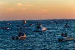 Αλιεία των σκι-βαρκών που περιμένουν το διαγωνισμό έναρξης Στοκ εικόνες με δικαίωμα ελεύθερης χρήσης