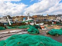 Αλιευτικά σκάφη και δίχτυα Στοκ εικόνα με δικαίωμα ελεύθερης χρήσης