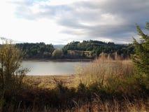 αλιεύοντας άτομα λιμνών βαρκών Στοκ Εικόνα