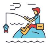 Αλιεύοντας άτομο με την έννοια ράβδων ελεύθερη απεικόνιση δικαιώματος