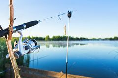 αλιεύοντας λίμνη Στοκ Εικόνες