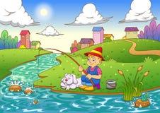 Αλιεύοντας αγόρι απεικόνιση αποθεμάτων