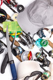 Αλιεύοντας εξοπλισμοί, εξοπλισμός και καλύμματα Στοκ Εικόνες