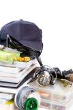 Αλιεύοντας εξοπλισμοί και δολώματα με την ΚΑΠ στα βιβλία Στοκ εικόνα με δικαίωμα ελεύθερης χρήσης